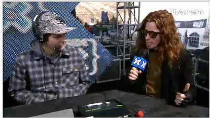 Shaun White does an interview on ESPN's live webcast Inside X at the Winter X Games