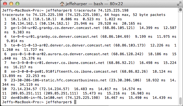 Example of traceroute